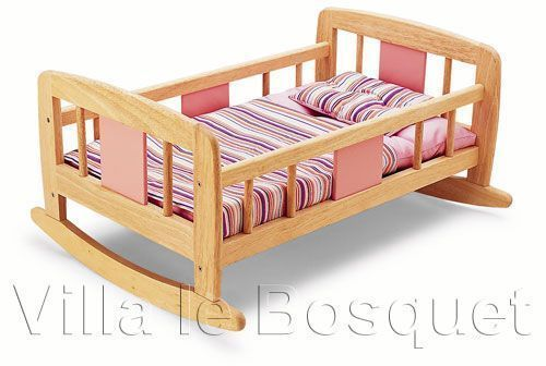 lit a bascule pour poupees jeu d 39 imitation en bois. Black Bedroom Furniture Sets. Home Design Ideas